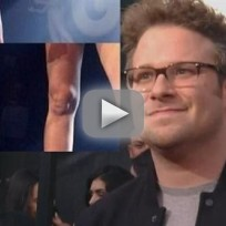 Miley cyrus knee looks like seth rogen