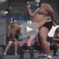 Girl twerks on mans giant belly