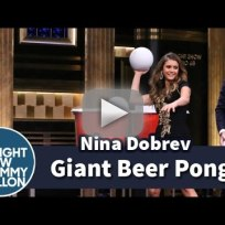 Nina-dobrev-plays-giant-beer-pong