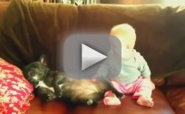 Baby Laughs at Snoring Dog