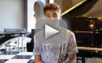 Justin Bieber Talks Colors, Wears Mustache