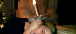 Jessica Simpson Sticks Lit Candle in Her Ear