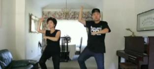 Mother and son perform gangnam style