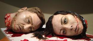 Severed head wedding cake served in austin