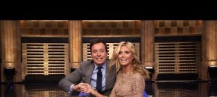 Jimmy fallon and heidi klum make human wheel