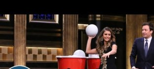 Nina dobrev plays giant beer pong