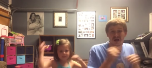 Father and daughter dance to shake it off