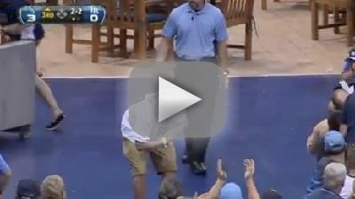 Rays Fan Flips Over Railing