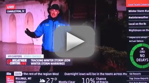 Jim Cantore Knees College Kid on Camera