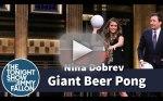 Nina Dobrev Plays Giant Beer Pong!