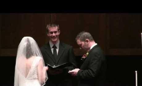 Dude Updates Facebook Status at Wedding