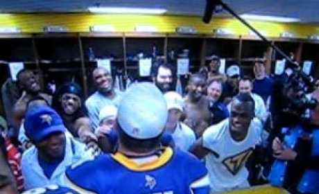 Brett Favre Celebrates Playoff Victory, Chants for Pants on the Ground