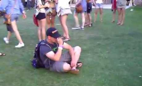 Drunk Guy at Concert Fails to Secure Flip Flop
