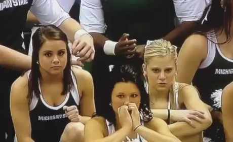 Michigan State Cheerleader Falls