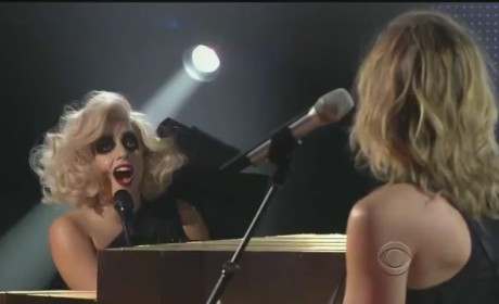 Lady Gaga Duets With Sugarland, Performs Solo on Grammy Special