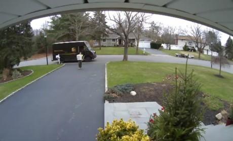 UPS Guy Flips Off Camera