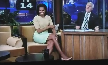 Michelle Obama Visits Tonight Show, Jay Leno Actually Eats Vegetables!