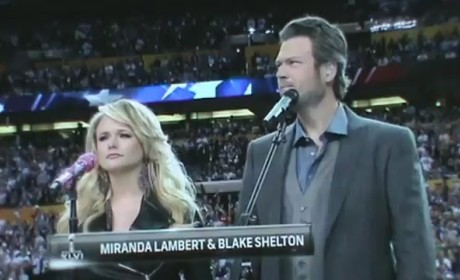 "Miranda Lambert, Blake Shelton Perform ""America the Beautiful"" at Super Bowl"