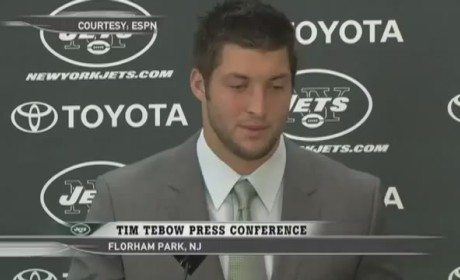 "Tim Tebow Press Conference: Star QB Introduced as Member of Jets, Says ""Excited"" a Lot"