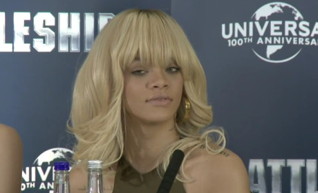 Rihanna Smacks Down Reporter Over Ill-Timed Ashton Kutcher Question