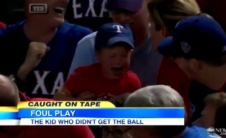 Crying Rangers Fan Loses Foul Ball to Adults
