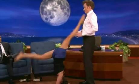 Nina Dobrev Appears on Conan, Performs Crotch-Based Yoga