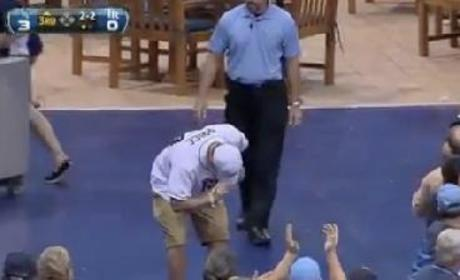 Stick It: Rays Fan Lunges For Foul Ball, Flips Over Railing, Spills Beer, Nails Landing!