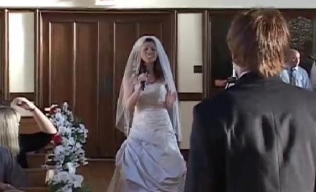 "Marie Carr Walks Down the Aisle Singing Christina Aguilera's ""The Right Man"" at Her Wedding"
