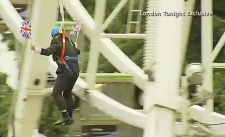 Boris Johnson, London Mayor, Stuck on Zipline