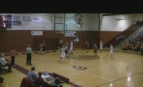 Girl Bounces in Full-Court Shot