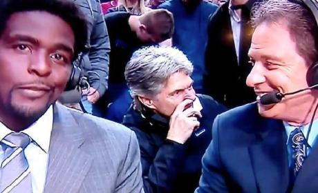 Guy Picks Nose Behind TNT Announcers