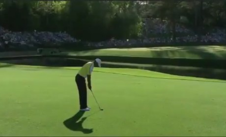 Tiger Woods Hits Flag at Masters