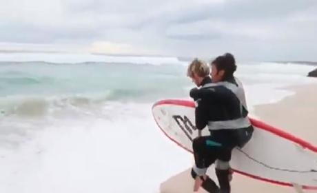 Pascale Honore Surfs with Son