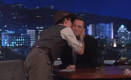 Johnny Depp Kisses Jimmy Kimmel
