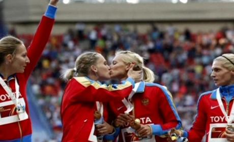 Russian Female Athletes Kiss on Podium, Send Message to Government?