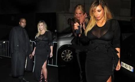 Kim Kardashian Attends Paris Fashion Show, Shows A Lot of Cleavage