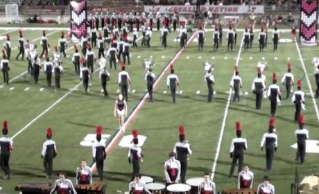 High School Tuba Players Fall All Over Themselves During Halftime Show