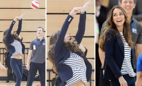 Kate Middleton Plays Volleyball in Heels, Bares Midriff; UK Papers Have Collective Aneurysm