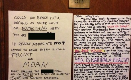 Neighbors Trade Passive-Aggressive Notes Over Loud Sex in Apartment Building