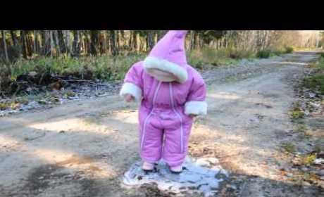 Baby Walks, Falls on Ice