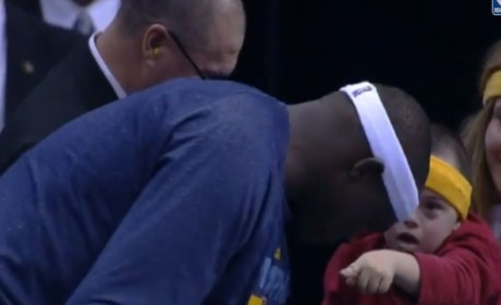 Zach Randolph Hands Shirt to Special Needs Child