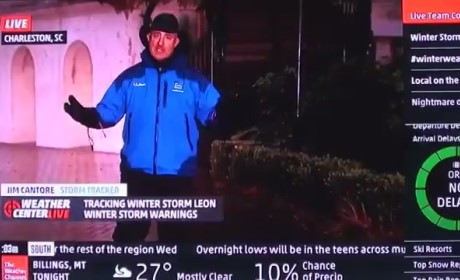 Jim Cantore Knees College Kid in Crotch, Finishes Freezing Weather Report