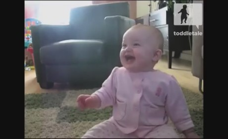 Baby Girl Laughs at Dog Eating Popcorn