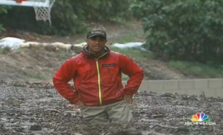 Miguel Almaguer Reports on Mud in Los Angeles, Gets Stuck in Mud
