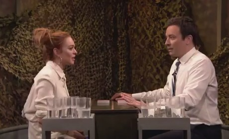 Lindsay Lohan-Jimmy Fallon Water Fight!