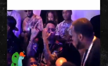 Chris Brown Throws Gang Signs