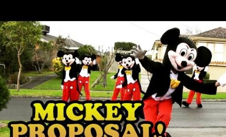 Boyfriend Proposes Via Dancing Mickey Mice, Beyonce and MJ: Watch Now!