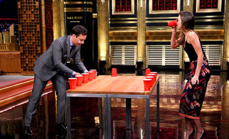 Jimmy Fallon Dons Beauty Mask, Takes on Miranda Kerr in Flip Cup