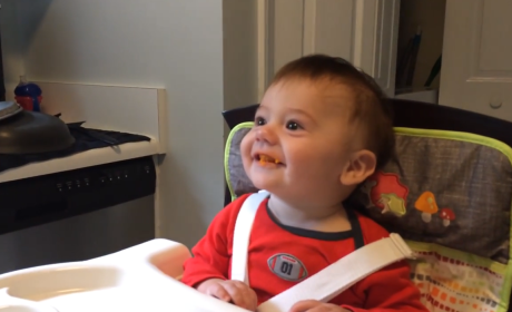 Baby Tries Solid Food for First Time, Can't Stop Smiling