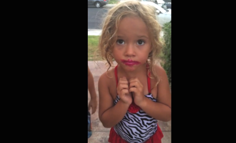 Daughter Denies Stealing Mother's Lipstick... While Wearing Lipstick